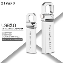 USB Flash Drive 64 GB 2.0 Metal Pendrive 16 128gb 8gb 4gb Stick high speed Pen 32GB bracelet custom LOGO