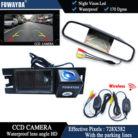 FUWAYDA Wireless Color CCD Chip Car Rear View Camera for HYUNDAI IX35 / I35 / Tucson + 4.3 Inch rearview Mirror Monitor