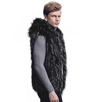 2018 Winter black vest Warm Luxury Fur V...