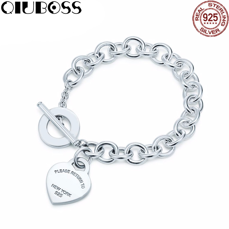 QIUBOSS TIFF 925 Silver Heart Tag Bracelet Buckle New Bracelet To The Woman Design Gifts