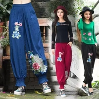 Pantalon Femme Pantalones Mujer 2016 Ethnic Elegant Brand Women Pants Female Loose Black Blue Red Flowers