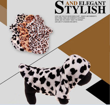 Leopard Coral Velvet Pet Clothes Teddy Turned Clothes Dog with Hat Spring and Winter Warm Hoodies