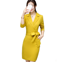 Autumn Outfit New Korean Fashion Long Sleeved Dress Suit Collar Waist Belt Office Lady Clothes Vestido