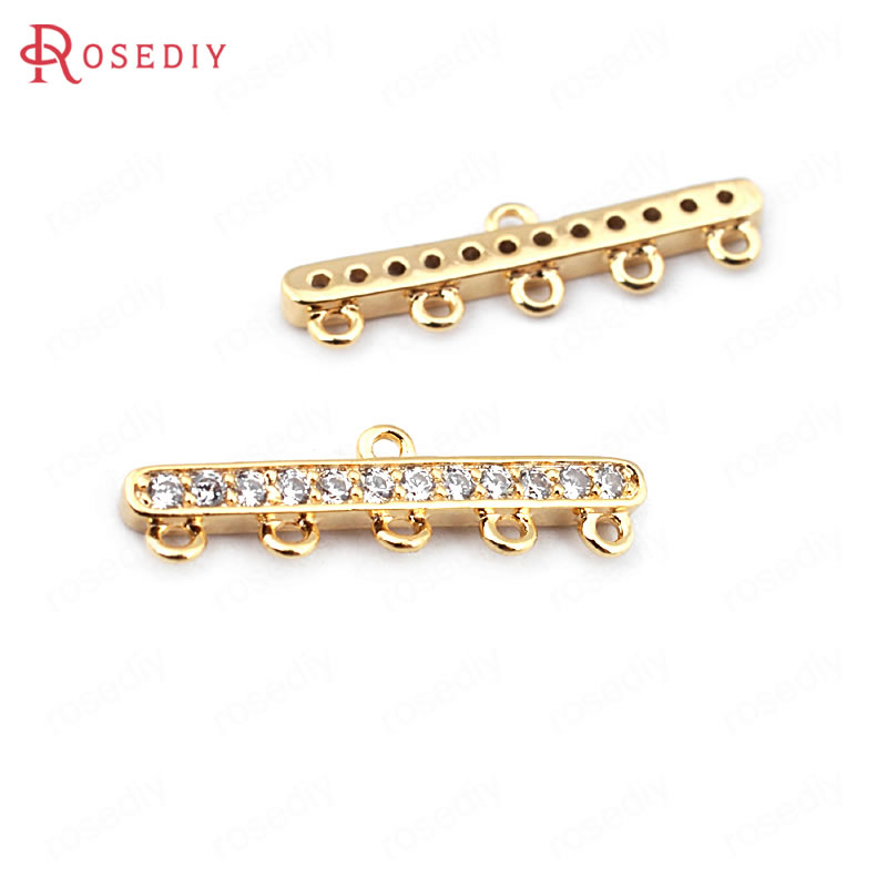 (33705)4PCS 20*5.5MM 24K Gold Color Brass Zircon 5 Holes Necklaces Connect Clasps High Quality Diy Jewelry Findings Accessories
