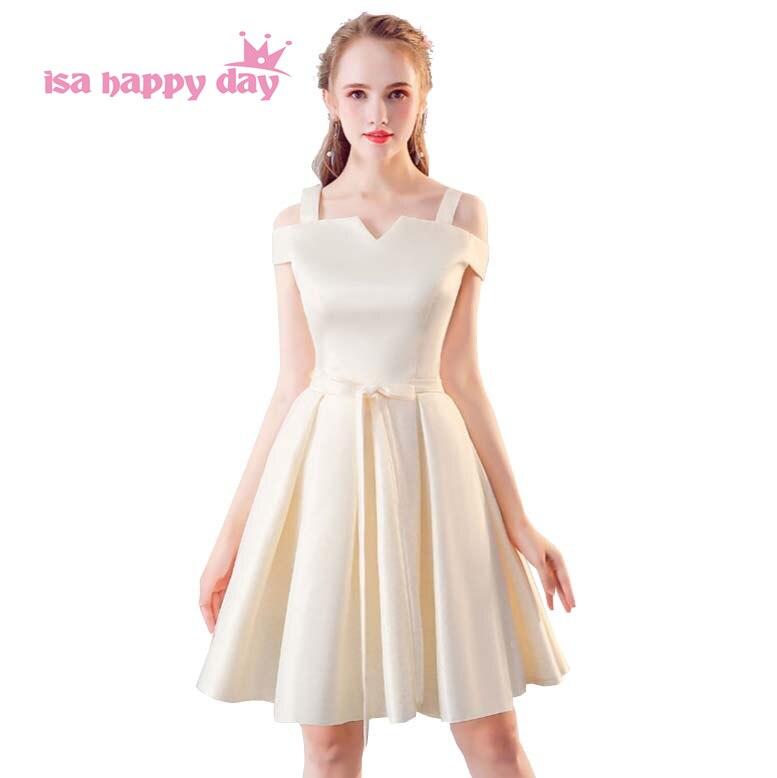el precio se mantiene estable colección completa seleccione para el despacho € 20.04 5% de DESCUENTO|Damas de honor de color champán 2019 Vestido de  satén vestido de baile vestidos cortos de dama de honor para fiesta de ...