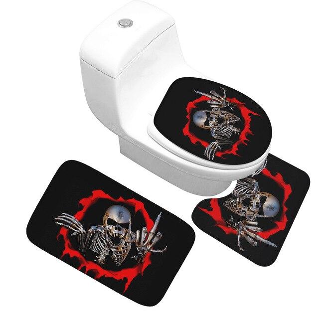 Honlaker Serie Skull 3 Pezzo Set Da Bagno Wc Tappetino di Alta Qualità Flanella