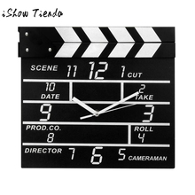 Hot sale Cinema Movie Slate Analog Wall Clock Clapper Film Modern Home Black