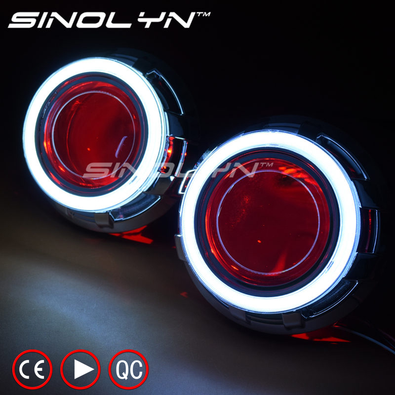 3.0 inch Metal HID Bi xenon Lens Projector Headlight H4 DRL LED Angel Eyes Halo& Demon Devil Eyes,USE D2H D2S Bulb Car Styling royalin car styling hid h1 bi xenon headlight projector lens 3 0 inch full metal w 360 devil eyes red blue for h4 h7 auto light