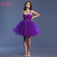 Purple Short Mini Homecoming Dress Organza TuTu Skirts Party Dress Sexy One Shoulder Homecoming vestido de festa curto  Z134
