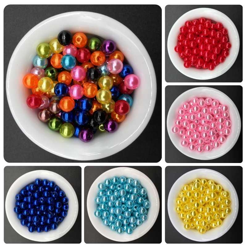50-200 stücke Nachahmung Kreis Perle Handgemachte DIY Perlen Einfache Schmuck Zubehör Für Armband Halskette Mode Ziemlich Freizeit