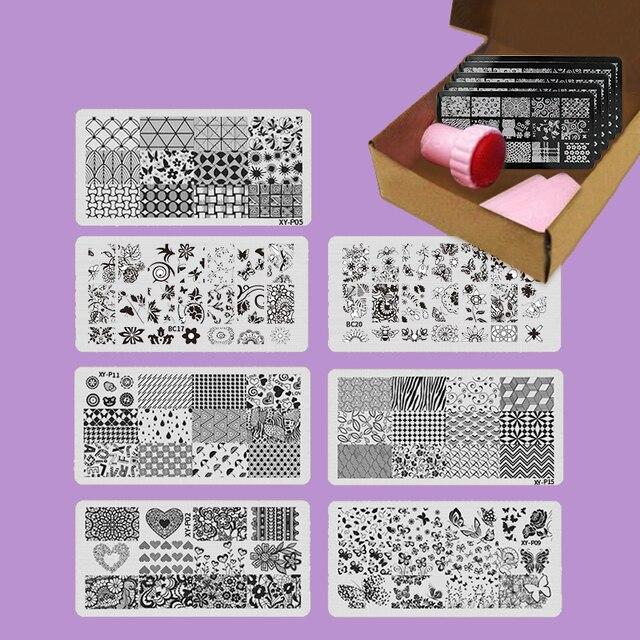 7pcs/set Manicure Nail Stamping Plates Image Template Nail Design ...