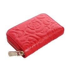 Designer Brand Flower Design Genuine Leather Womens Credit Card Holder
