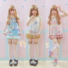 Super Cute Harajuku Anime Pattern Printing Shirt Women Girls Sweet Lolita Japanese Kawaii Tops Short Sleeve Tees AMO Style