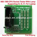 New CPU Socket Tester With Lamp/LED For Laptop 988 / 989, Supporting I3, I5, I7, Free Shipping