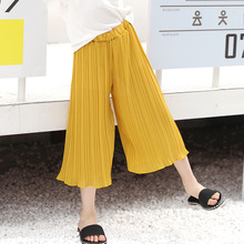 Girls Pants 4-10y Children Summer Loose Calf-length Pants Girls Casual Chiffon Pleated Pant Kids Wide Leg Pants