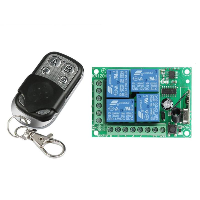 433MHz DC12V Wireless Remote Control Switch Learning Code 1527 Transmitter with Four Channel digital Dor Relay Receiver Module