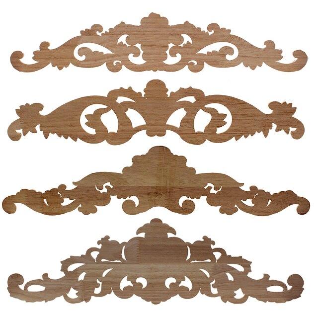 VZLX European Decals Solid Wood  Applique Long Flower Pieces Vintage Home Decor Decoration Maison Carved Accessories Modern 6