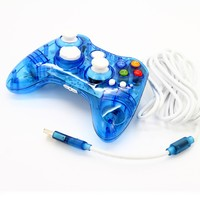 2016 Hot Sale Mini Wired Transparent Game Pad Usb Controller Joypad For Xbox 360 Blue Free
