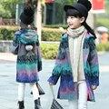 Natal Meninas Casacos e Jaquetas de Inverno Meninas Casaco Com Capuz Crianças Roupas De Menina Bebê Meninas Outerwear Colorido Moda Tweeds G219