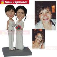 Индивидуальный заказ bobbleheads от фото свадебный торт топперы силуэт фигурки полимерный глиняные фигурки 3d фигурка себя кукла