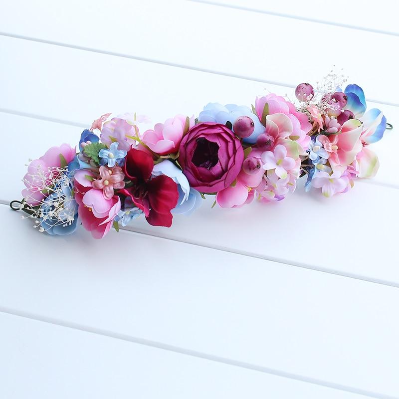 Novia playa guirnalda mujer niña Bohemia hechos a mano dama flores corona boda nupcial tocado diadema banda de pelo accesorios