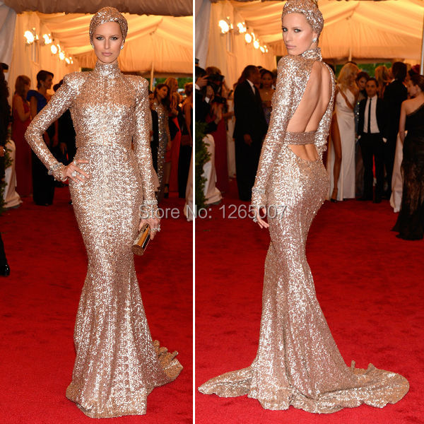 5401c3269b5 Karolina Kurkova Golden Sequins Cut Out Long Sleeves Open Back Maxi Dress  Mermaid Evening Fashion Special Occasion Dress