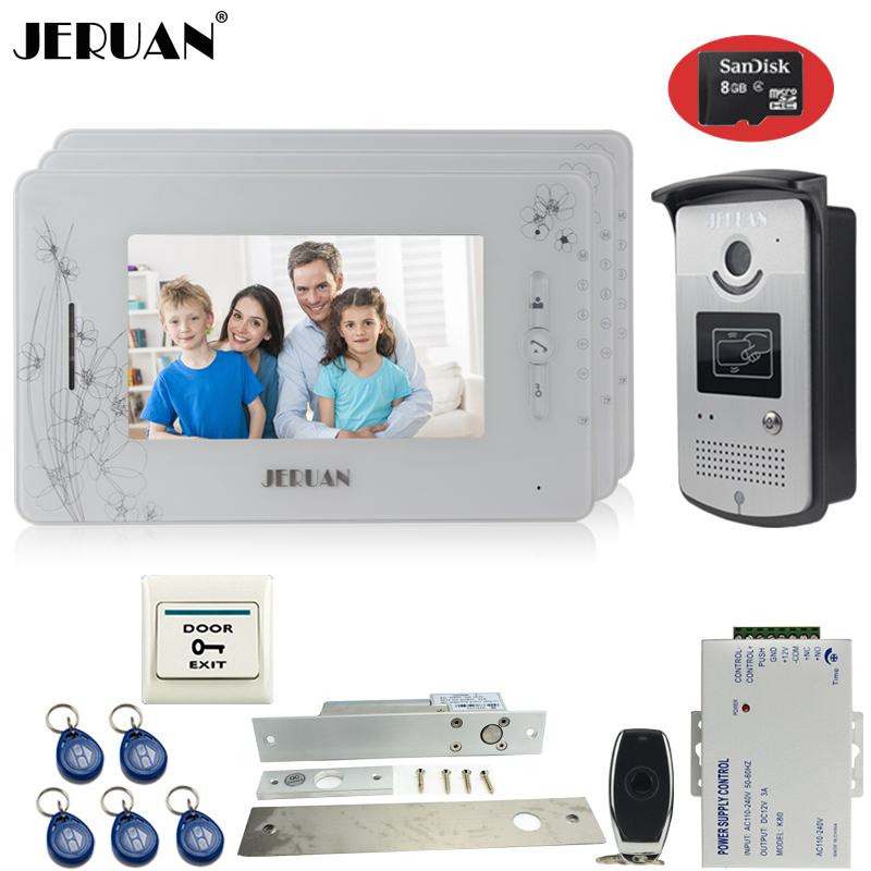 JERUAN three 7``monitor color video door phone intercom 700TVL RFID Access IR Night Vision Camera+Electric mortise lock+8GB Card jeruan three 7 monitor color video door phone intercom 700tvl rfid access ir night vision camera electric mortise lock 8gb card