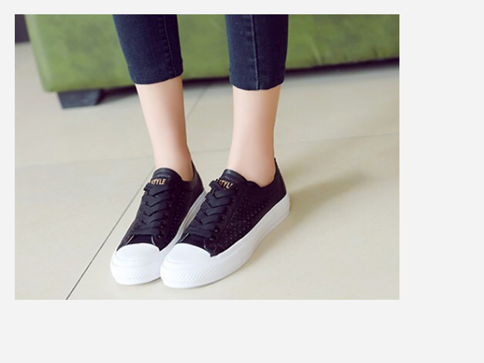 Donna-in 2019 New Women Flats Sneakers Genuine Leather Shoes Lace-up Cut-outs Flat Casual Women Shoes Hollow Summer Black White (4)