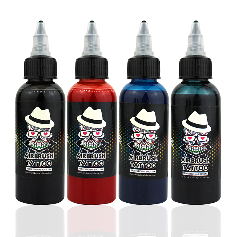 OPHIR 60 ML / Flaske Airbrush Ink Sort / Rød / Blå / Tattoo Farve til Body Paint Midlertidig Tattoo Ink Pigment Body Art Color _TA099-1