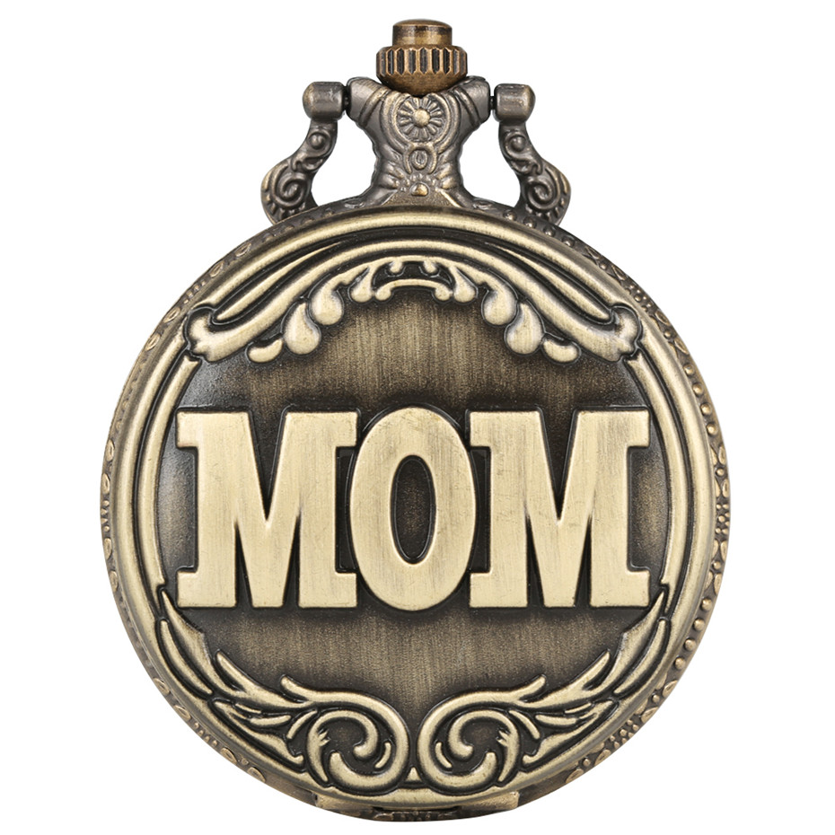 MOM Display Full Hunter Bronze Quartz Pocket Watch Retro Antique Jewelry Clock Gifts For Mother Best Birthday Present