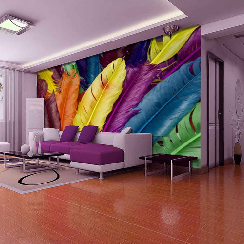Europe Style Luxury Photo Mural 3D Multicolour Feather Wall Art Wallpapers Waterproof Living Room Papel De