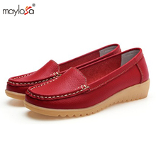 2017 women shoes Summer genuine leather flats shoes female casual flat women loafers shoes slips leather casual shoes ML02