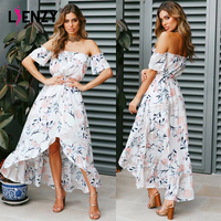 LIENZY Summer Floral Print Dress For Women Chiffon Female Tops Short Sleeve Slash Neck Long Dress