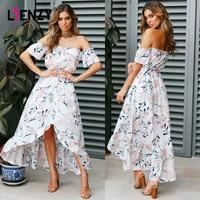 LIENZY Summer Floral Print Dress For Women Chiffon Female Tops Short Sleeve Slash Neck Long Dress