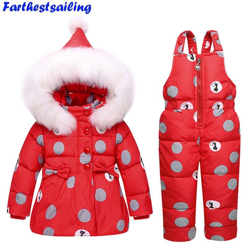 Enfants Duvet de Canard Veste Manteau + bib pantalon Salopette Set-30 degrés Russie Hiver bébé fille garçon Ski Habit de neige de costume enfants vêtements Ensemble