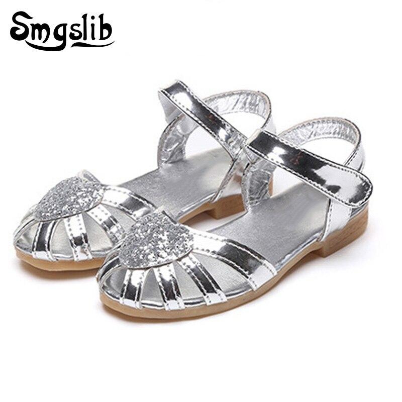 Children girls sandals feet Summer 2018 Kids Girls Wedding Shoes Dress Party Shoes For t ...