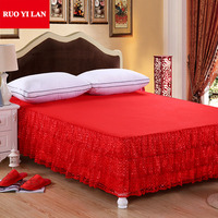 luxurious red bedding wedding satin bedskirt king queen size bedlinen bedsheets silk cotton bedcover bed skirt
