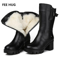 FEE HUG 30 Russia Winter Women Boots Natural Wool Genuine Leather Women Winter Boot Mid Calf