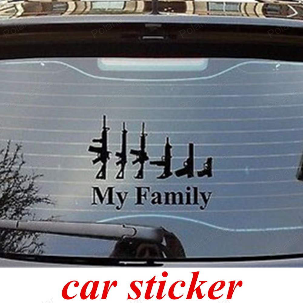 Car body sticker design for sale - Big Sale Car Styling Stickers Cool Design Personality Vehicle Gun My Family Affixed To The Body Black Color