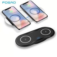 FDGAO 2 in 1 QI Wireless Charger For iPhone X XS Max XR 8 Samsung S8 S9 Note 9 8 5W Fast Charging Dual Cargador inalambrico Pad