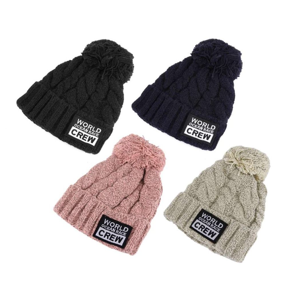 NEW Arrivals Cute Stylish Women Girls Thickened Hemp Flowers Pattern Cap Knitted Hat With Yarn Knitted Ball On Top stylish yarn ball decorated striped jacquard knitted horsemanhat for women