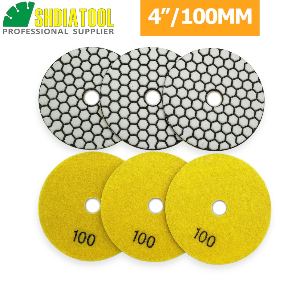 """DIATOOL 6pcs 4""""/100mm Grit #100 Diamond Dry polishing Pad for Granite & Marble, Sanding Disk For Stone Working Without Water"""