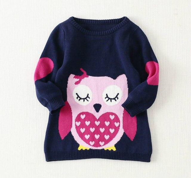 2015 новая мода осень зима детская одежда для девочек для хеджирования шерсть юбка мультфильм сова длинный свитер o шеи длинным рукавом топ