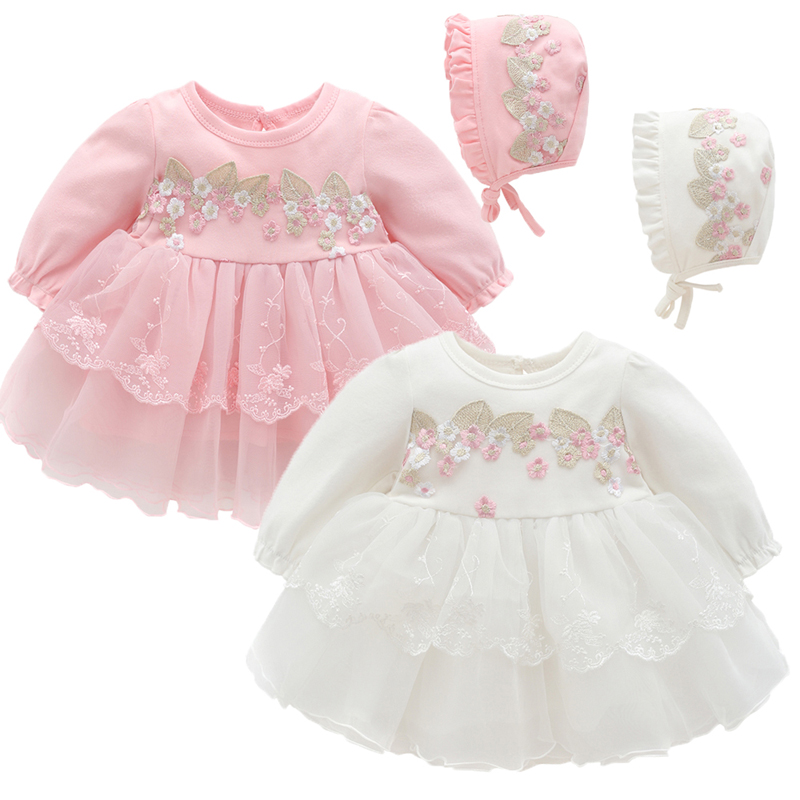 Baby Girl Lace Dress With Cap Set New Fall Spring Cotton Lace Embroidery Princess Dresses Infant Cute Clothing Born 3m 6m Gift