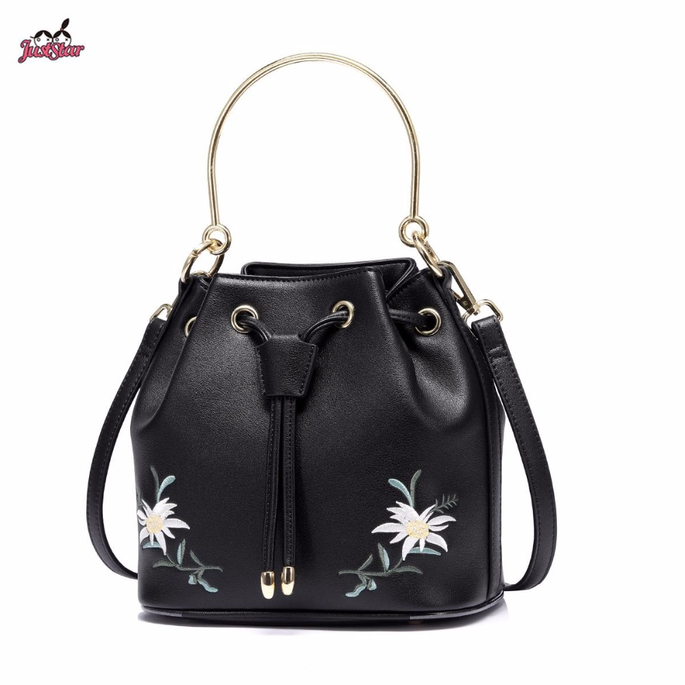 Just Star Brand New Design Fashion Flowers PU Leather Women's Handbag Ladies Girls Shoulder Cross body Drawstring Bucket Bag just star brand new design fashion mermaid printing pu leather women handbag girls shoulder bag cross body small round bag