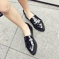 2017 Отметил плоские туфли женщина Большой размер Fringe Мокасины Дамы весна Туфли на платформе