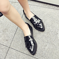 2017 Pointed flat shoes woman Big size Fringe Loafers Ladies spring platform Shoes