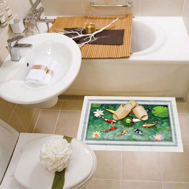 Kreative Wohnkultur D Wandaufkleber Lotusteich Goldfisch Muster Für - Fliesen 60x90