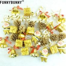 FUNNYBUNNY 36PCS Ornaments Christmas Tree Decoration With Xmas Balls Pinecone Jingle Bell