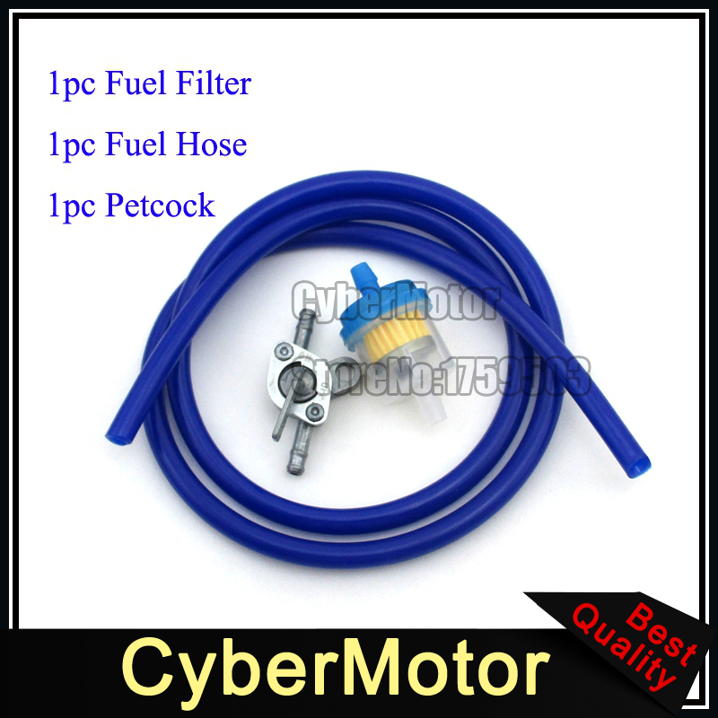Blue Fuel Hose Tube Inline Filter Gas Tank Pectock Tap Switch For Dirt Pit Motor Bike ATV Buggy Go Kart Motorcycle Motocross